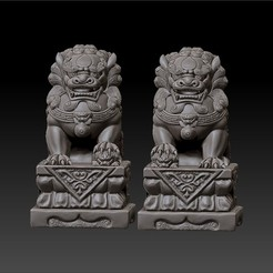 two_guardian_lions1.jpg Download free OBJ file guardian lions or Foo Dogs • Template to 3D print, stlfilesfree