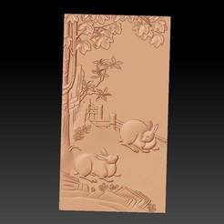 rabbits1.jpg Télécharger fichier STL gratuit bas-relief de lapins • Plan imprimable en 3D, stlfilesfree