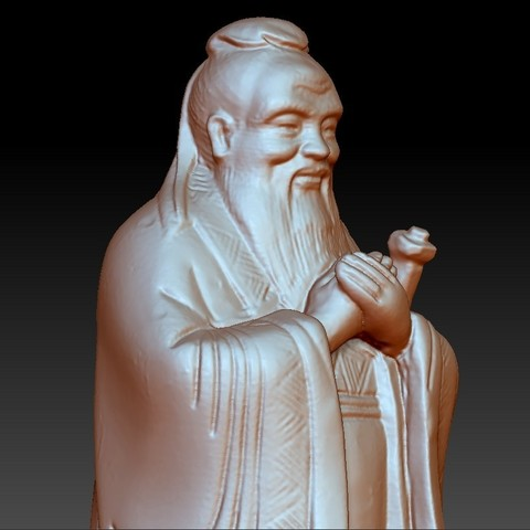 ConfuciusSmall4.jpg Download free OBJ file Confucius statue • 3D printing object, stlfilesfree
