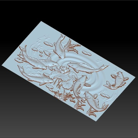 carpAndLotus3.jpg Download free OBJ file fish and lotus flowers 3d model of bas-relief • 3D printable template, stlfilesfree