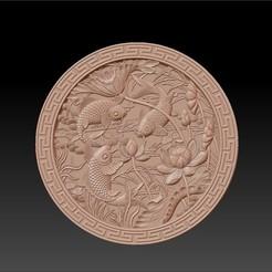 round_fish_and_flowers1.jpg Télécharger fichier STL gratuit poissons et fleurs de lotus • Plan pour impression 3D, stlfilesfree