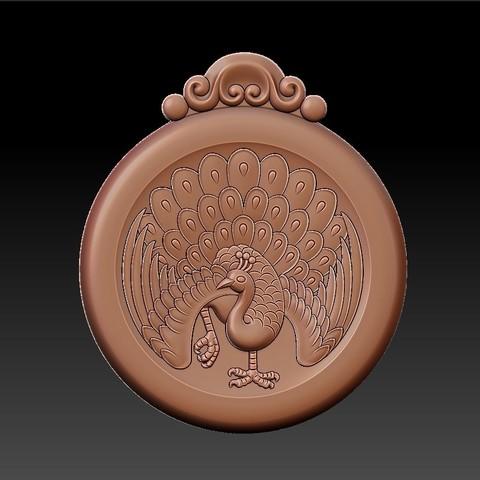 peacock_pendant6.jpg Download free STL file peacock pendant • Model to 3D print, stlfilesfree