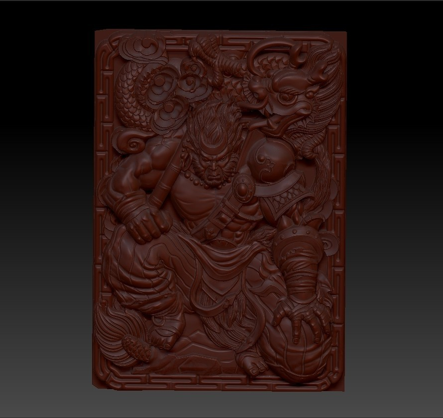 MonkeyKing4.jpg Download free OBJ file monkey king 3d model of bas-relief for cnc • 3D printing model, stlfilesfree