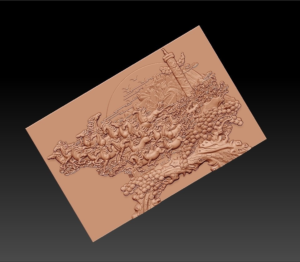 many_horses_and_trees8.jpg Download free STL file running horses and trees • Object to 3D print, stlfilesfree