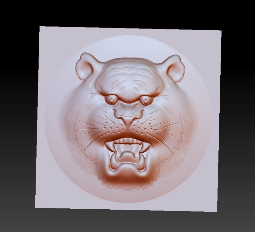 tigerHead1.jpg Download free OBJ file tiger head pendant • 3D printer template, stlfilesfree