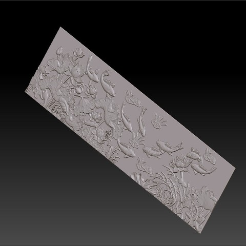 lotus_and_many_fish7.jpg Download free STL file fish and lotus flowers  • 3D printable object, stlfilesfree
