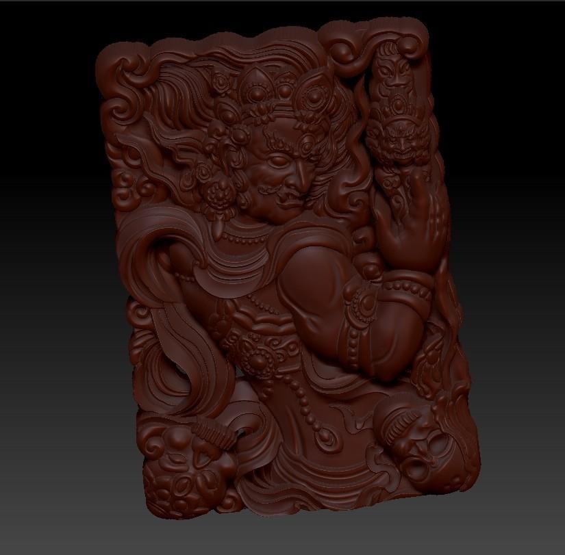 tibetanbuddhademon2.jpg Télécharger fichier OBJ gratuit Statue de Bouddha tibétain 3d modèle de relief • Modèle pour impression 3D, stlfilesfree