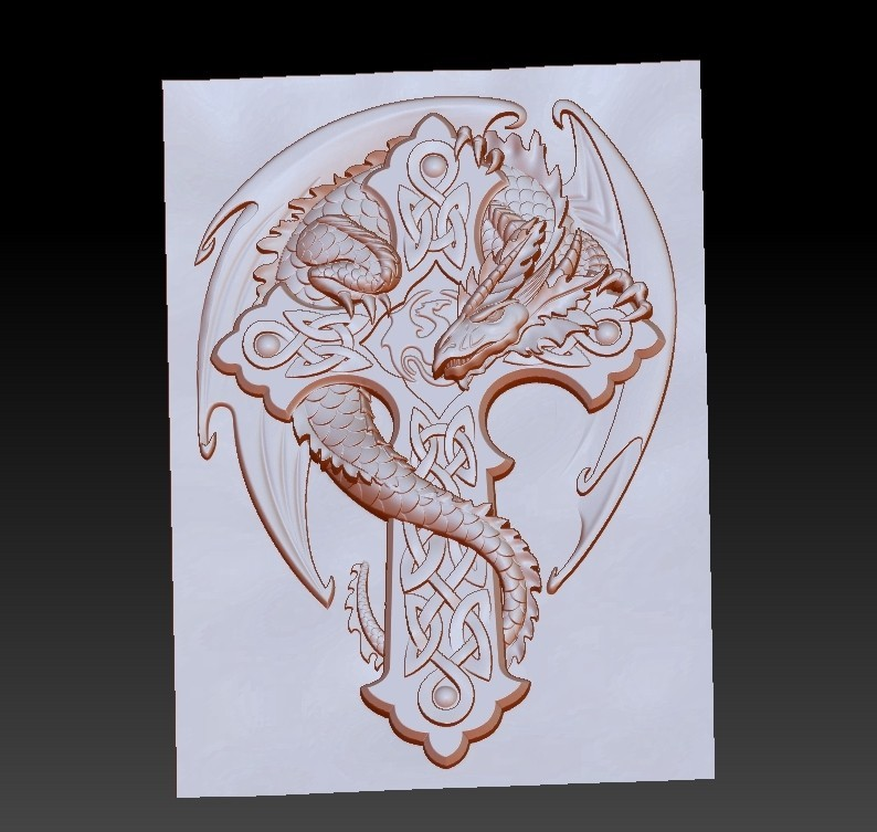 dragonCross3.jpg Download free OBJ file dragon on the cross • 3D printing design, stlfilesfree