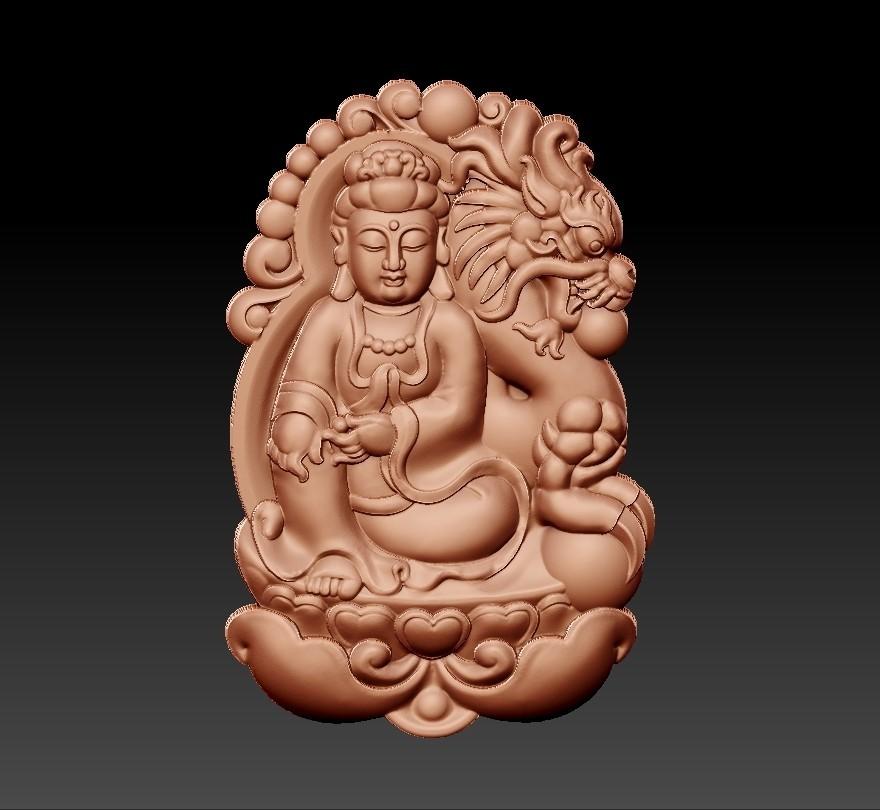 bodhisattva_with_dragon_background3.jpg Télécharger fichier STL gratuit Bodhisattva kwan-yin avec fond de dragon • Modèle pour imprimante 3D, stlfilesfree