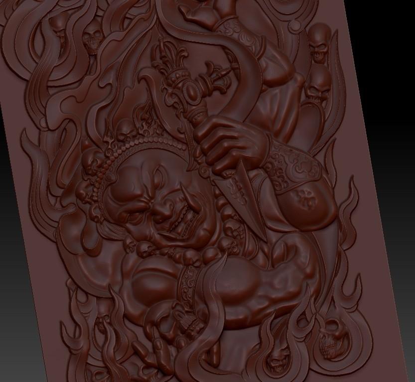 tibetbuddhademonz5.jpg Télécharger fichier OBJ gratuit MODÈLE TIBETAN BUDDHA RELIEF POUR CNC • Objet pour impression 3D, stlfilesfree
