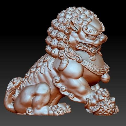 guardianLion3d1.jpg Télécharger fichier OBJ gratuit modèle 3d de lion ou de foo de gardien de chien • Modèle imprimable en 3D, stlfilesfree