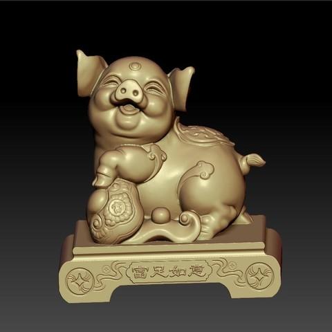 LuckyPig1.jpg Télécharger fichier STL gratuit Cochon chanceux • Plan pour imprimante 3D, stlfilesfree