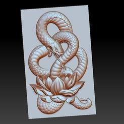 snakeLotus1.jpg Télécharger fichier OBJ gratuit modèle de pendentif en serpent de bas-relief • Plan pour imprimante 3D, stlfilesfree