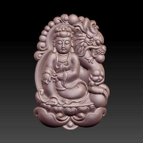 bodhisattva_with_dragon_background4.jpg Télécharger fichier STL gratuit Bodhisattva kwan-yin avec fond de dragon • Modèle pour imprimante 3D, stlfilesfree