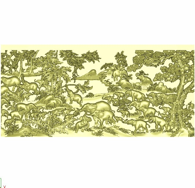 hundredsofelephants1.jpg Download free STL file elephants bas-relief model for cnc • 3D printing model, stlfilesfree