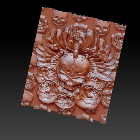 skullAndRoses4.jpg Télécharger fichier STL gratuit crâne et rose • Objet à imprimer en 3D, stlfilesfree