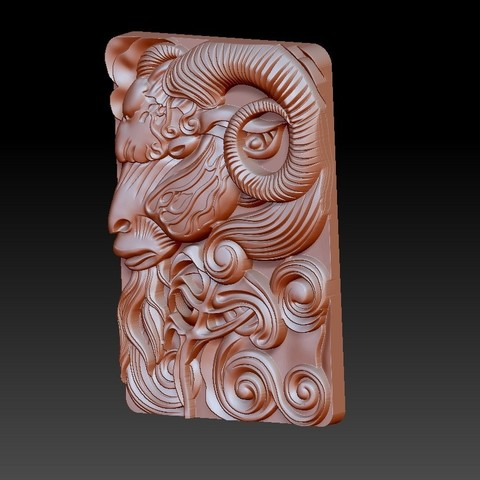 GOAT3.jpg Download free OBJ file goat head 3d model of bas-relief • 3D printable design, stlfilesfree
