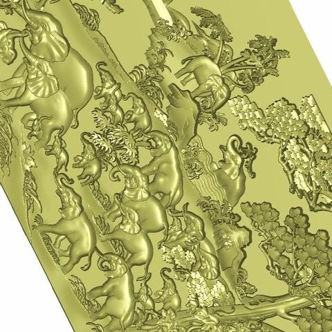 hundredsofelephants5.jpg Download free STL file elephants bas-relief model for cnc • 3D printing model, stlfilesfree