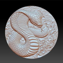 snakecircular1.jpg Download free STL file snake pendant model of bas-relief • 3D printing template, stlfilesfree