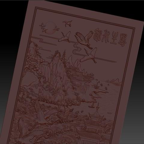 MontainsAndHills5.jpg Télécharger fichier STL gratuit Paysage chinois 3d modèle de bas-relief pour cnc • Design à imprimer en 3D, stlfilesfree