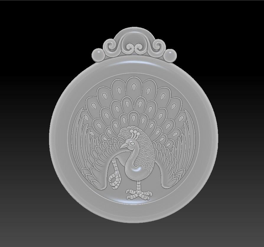 peacock_pendant4.jpg Download free STL file peacock pendant • Model to 3D print, stlfilesfree
