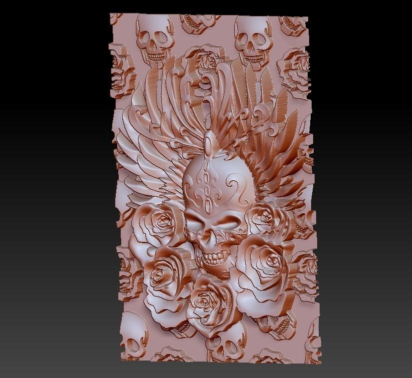 skullAndRoses2.jpg Télécharger fichier STL gratuit crâne et rose • Objet à imprimer en 3D, stlfilesfree