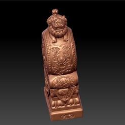 ChineseGuardianLion1.jpg Télécharger fichier STL gratuit Lion gardien chinois sur tambour de pierre • Objet pour imprimante 3D, stlfilesfree