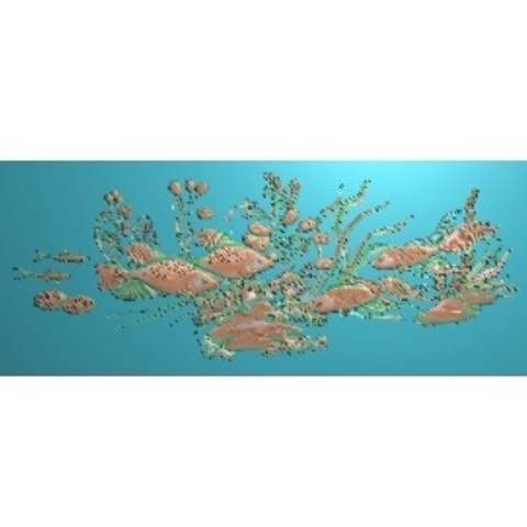 fishunderwater7.jpg Download free STL file fish underwater 3d model of bas-relief • Template to 3D print, stlfilesfree