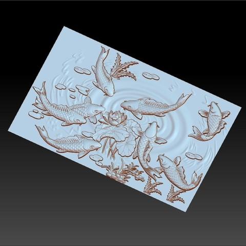 carpAndLotus5.jpg Download free OBJ file fish and lotus flowers 3d model of bas-relief • 3D printable template, stlfilesfree