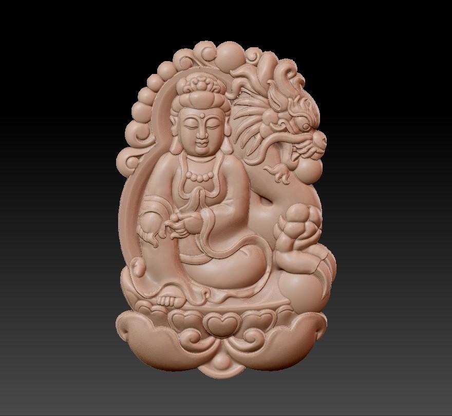 bodhisattva_with_dragon_background2.jpg Télécharger fichier STL gratuit Bodhisattva kwan-yin avec fond de dragon • Modèle pour imprimante 3D, stlfilesfree
