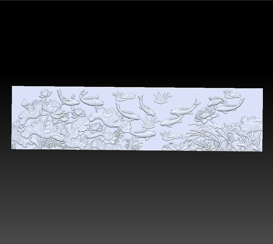 lotus_and_many_fish3.jpg Download free STL file fish and lotus flowers  • 3D printable object, stlfilesfree