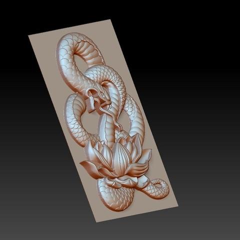 snakeLotus3.jpg Télécharger fichier OBJ gratuit modèle de pendentif en serpent de bas-relief • Plan pour imprimante 3D, stlfilesfree