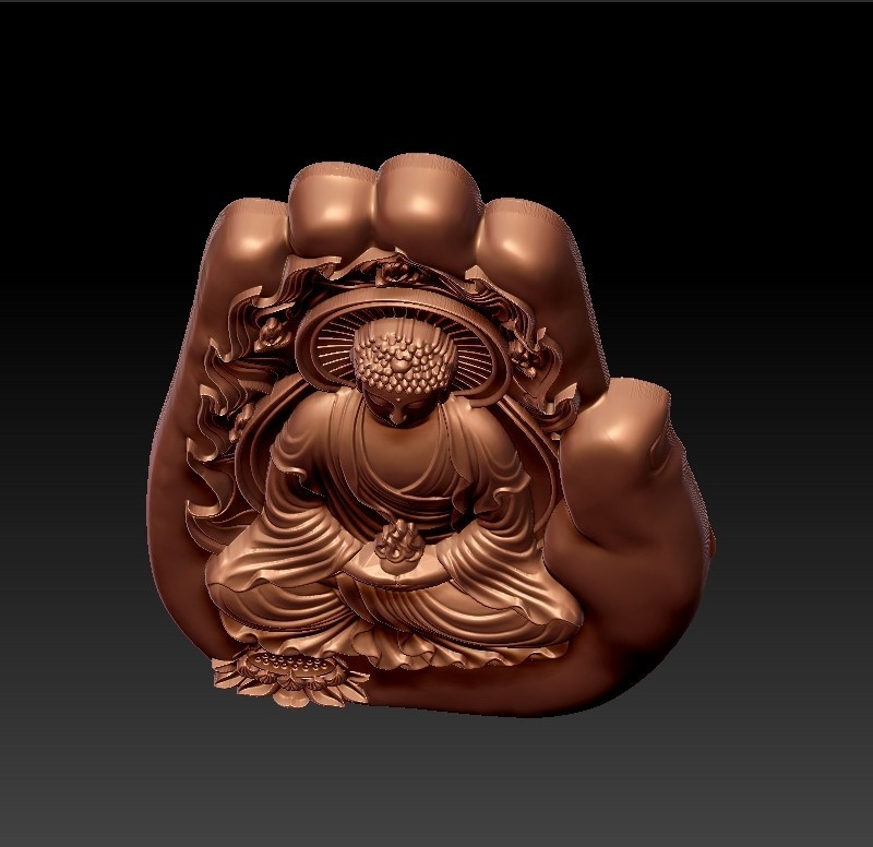 buddhaHand4.jpg Download free STL file buddha with background of hand • 3D printable design, stlfilesfree