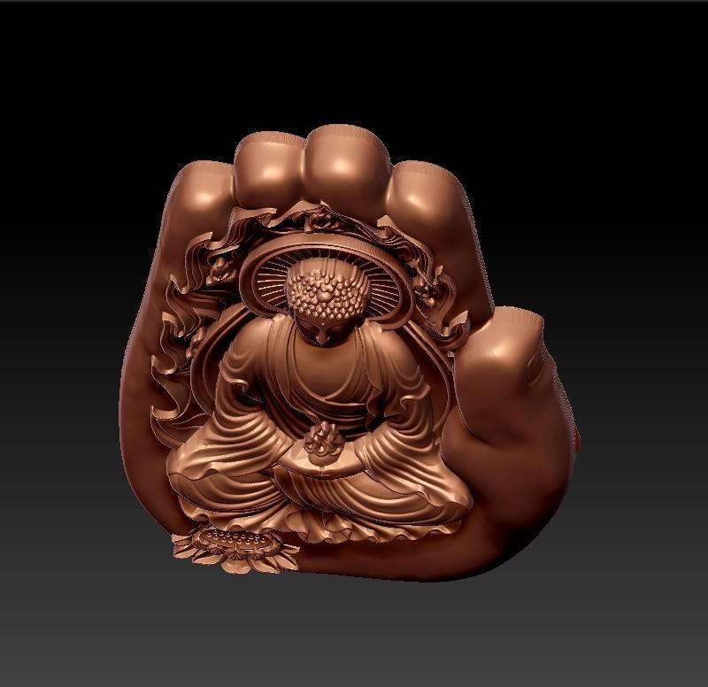 buddhaHand4.jpg Télécharger fichier STL gratuit Bouddha avec fond de main • Plan à imprimer en 3D, stlfilesfree