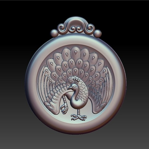 peacock_pendant5.jpg Download free STL file peacock pendant • Model to 3D print, stlfilesfree