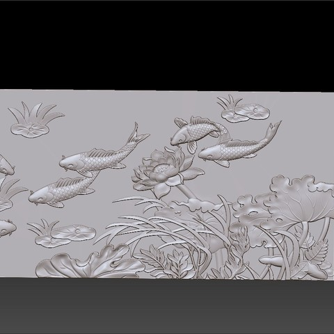 lotus_and_many_fish6.jpg Download free STL file fish and lotus flowers  • 3D printable object, stlfilesfree