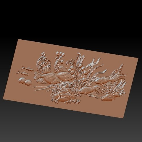 fishunderwater2.jpg Download free STL file fish underwater 3d model of bas-relief • Template to 3D print, stlfilesfree
