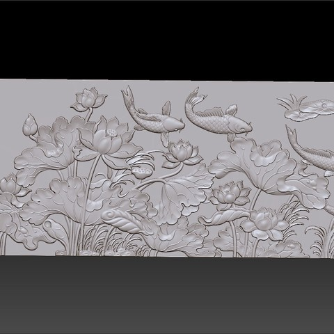 lotus_and_many_fish4.jpg Download free STL file fish and lotus flowers  • 3D printable object, stlfilesfree