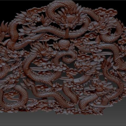 NineChineseDragons3.jpg Télécharger fichier STL gratuit neuf dragons traditionnels chinois modèle de bas-relief pour cnc • Modèle imprimable en 3D, stlfilesfree
