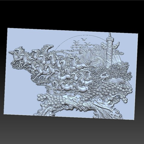 many_horses_and_trees2.jpg Download free STL file running horses and trees • Object to 3D print, stlfilesfree
