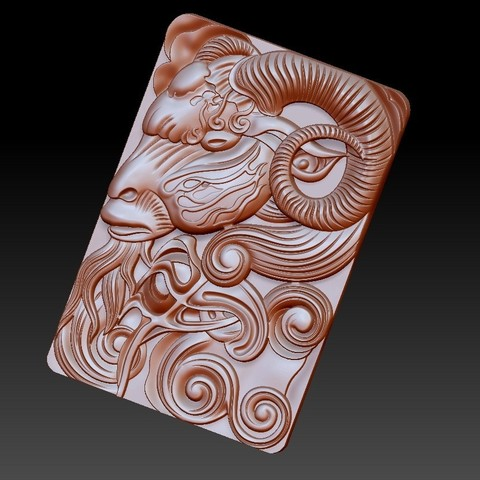 GOAT4.jpg Download free OBJ file goat head 3d model of bas-relief • 3D printable design, stlfilesfree