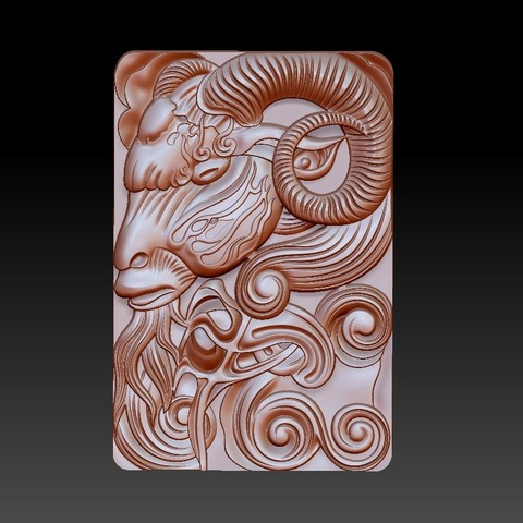 GOAT1.jpg Download free OBJ file goat head 3d model of bas-relief • 3D printable design, stlfilesfree