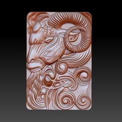 GOAT1.jpg Download free OBJ file goat head 3d model of bas-relief • 3D printable design, stlfilesfree