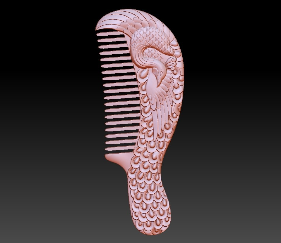 combpeacock1.jpg Download free OBJ file peocock comb • Design to 3D print, stlfilesfree