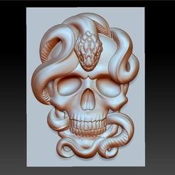 skullAndSnakeA1.jpg Download free STL file skull model of bas-relief • Object to 3D print, stlfilesfree