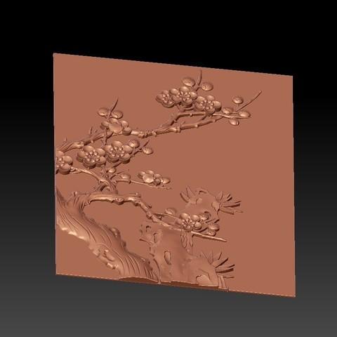 Plum_blossom4.jpg Télécharger fichier STL gratuit fleur de prunier • Objet pour impression 3D, stlfilesfree