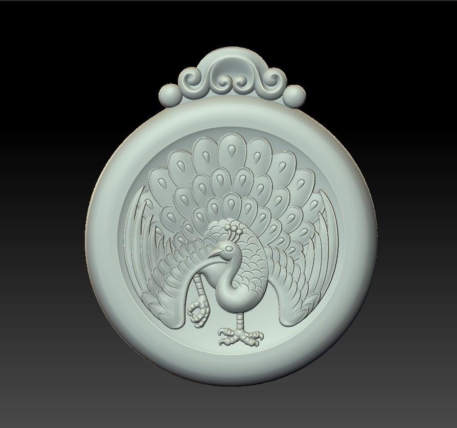 peacock_pendant2.jpg Download free STL file peacock pendant • Model to 3D print, stlfilesfree