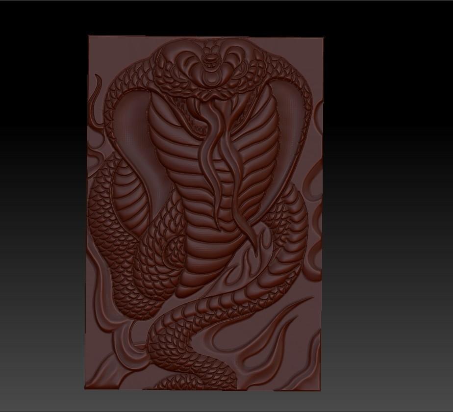 snake1.jpg Télécharger fichier STL gratuit Cobra Snake relief modèle pour cnc • Design imprimable en 3D, stlfilesfree