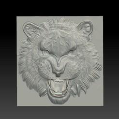 tiger_head1.jpg Télécharger fichier STL gratuit tête de tigre • Objet imprimable en 3D, stlfilesfree