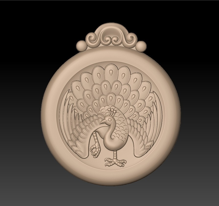 peacock_pendant1.jpg Download free STL file peacock pendant • Model to 3D print, stlfilesfree